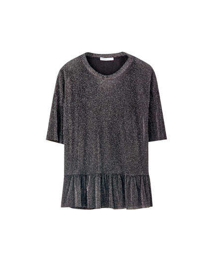 Ruffled high neck T-shirt