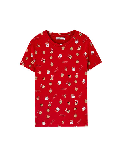T-Shirt mit All-Over Motiven