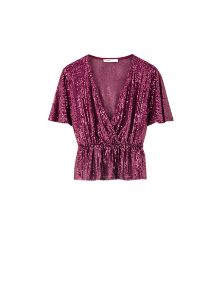 Sequinned stretch top