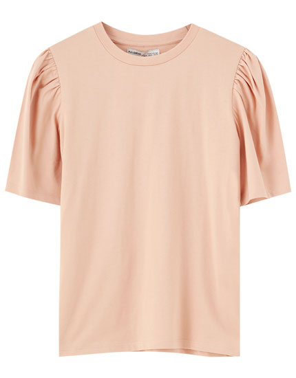 Pink voluminous sleeve T-shirt