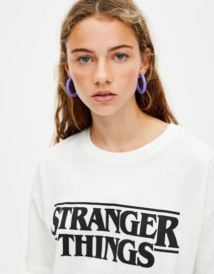 T-shirt Netflix Stranger Things logo noir