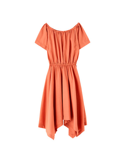 Terracotta off-the-shoulder mini dress