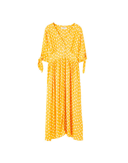 Mustard polka dot midi dress