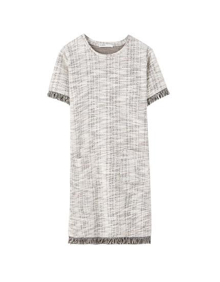 Kort kjole i tweed