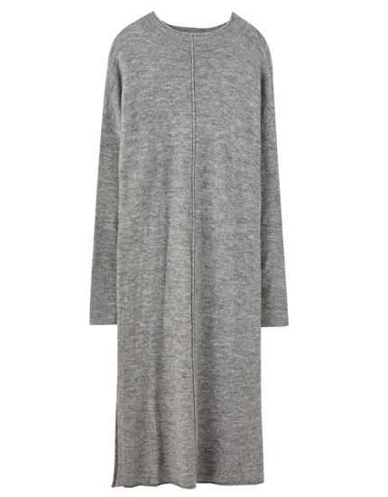 High neck midi knit dress