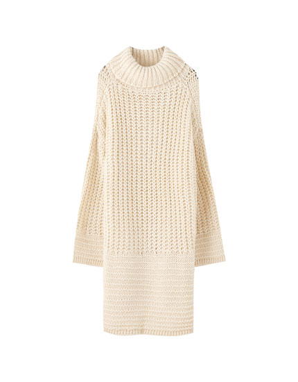 Chunky knit dress with a high neck