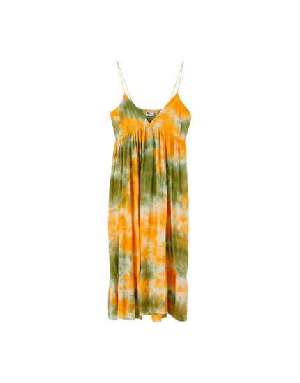Strappy tie-dye midi dress
