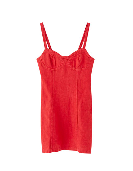 Red strappy mini dress