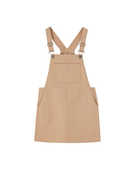 Ochre denim pinafore dress