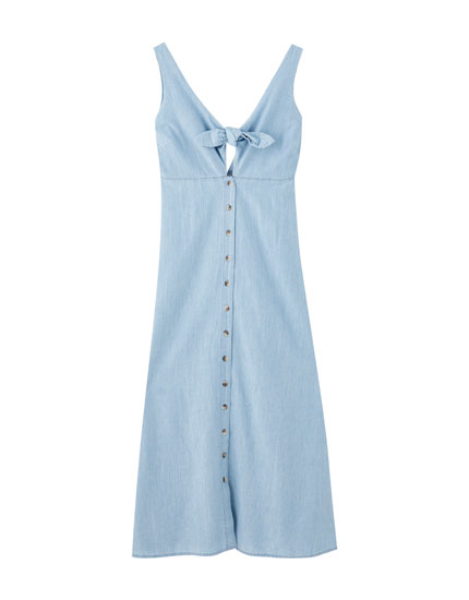 Long denim dress with buttons