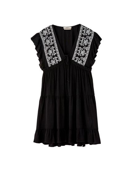 Ruffled black babydoll dress