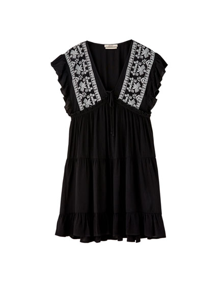 Ruffled black babydoll dress