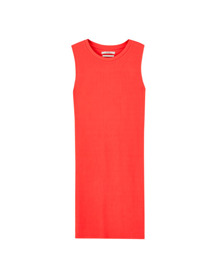 Sleeveless ribbed mini dress