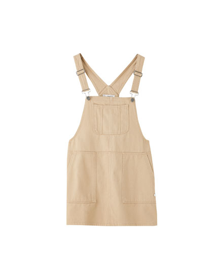 Worker-style pinafore dress with pockets