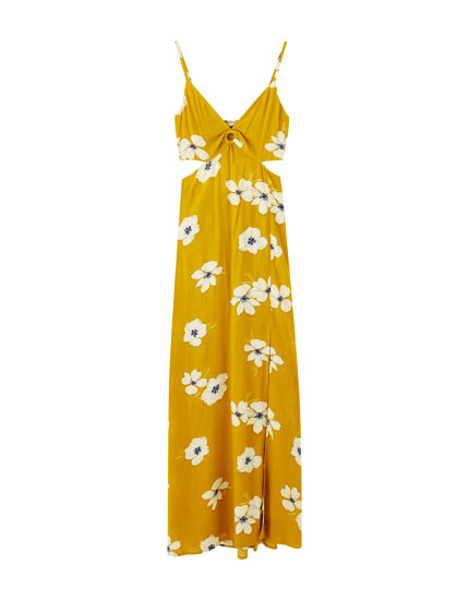Mustard yellow floral midi dress