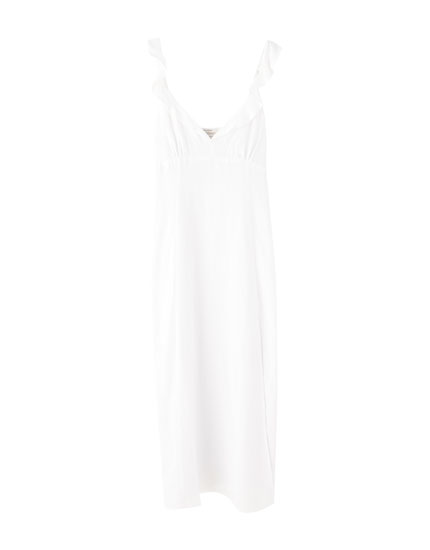 White strappy midi dress