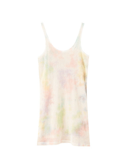 Kremowa sukienka na ramiączkach z efektem tie dye