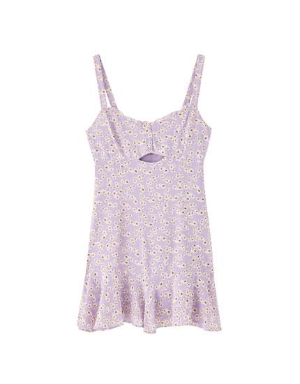 Korte schouderbandjes-jurk met volant
