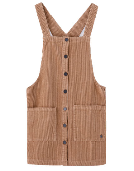 Corduroy pinafore dress with buttons