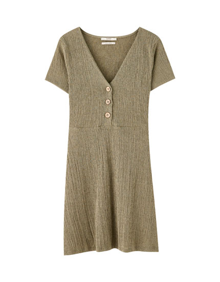 Short crepe dress with buttons
