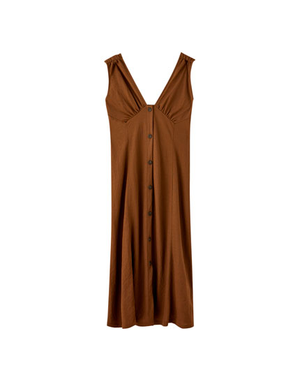 Brown button-down midi dress