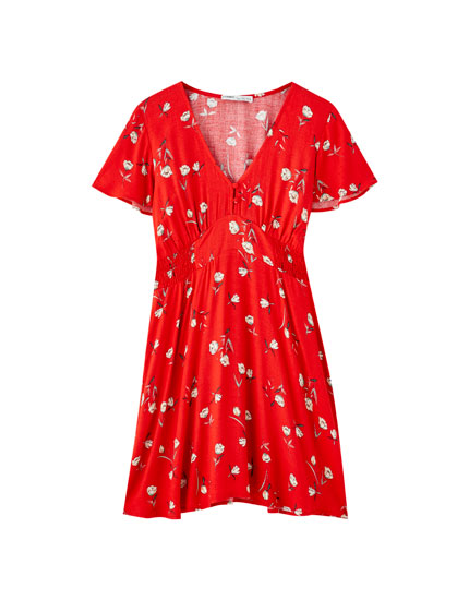 Lårkort kjole med print og rynket talje
