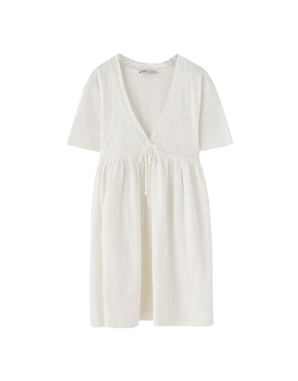 White dress with drawstring waist