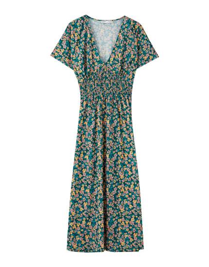 Shirred floral mini dress