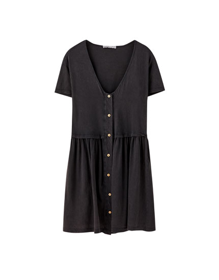 Ruffled button-up mini dress