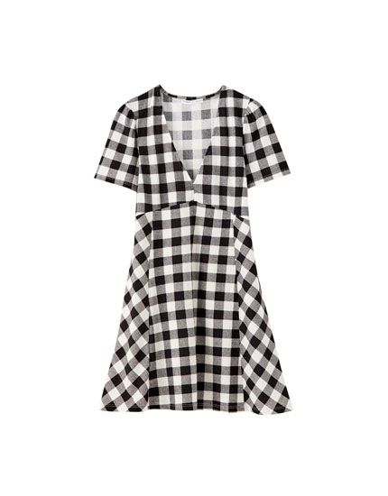 Black checked mini dress