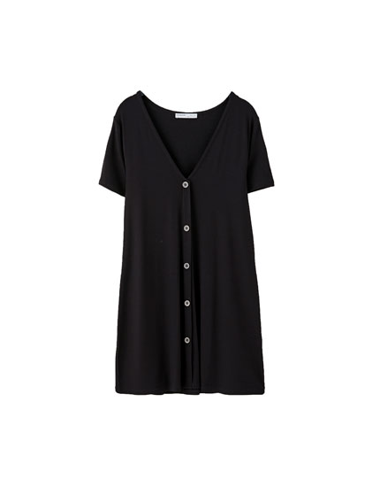 Short sleeve mini dress with buttons