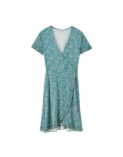 Ruffled crossover dress