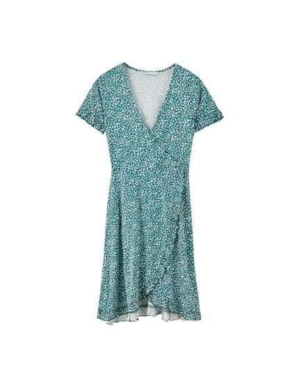 Dobbeltradet kjole med flæser