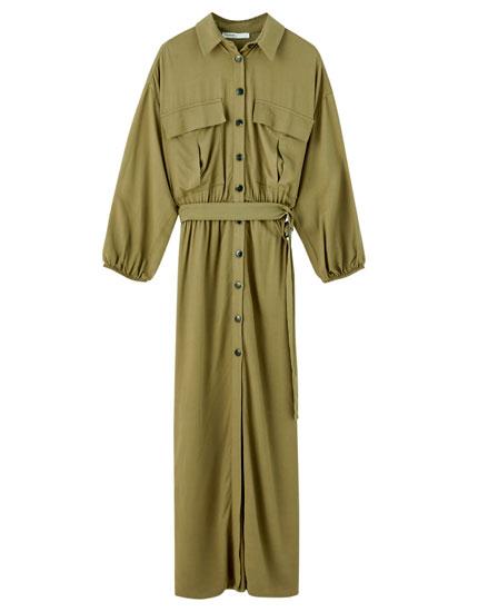 Khakifarvet, mellemlang utility-kjole