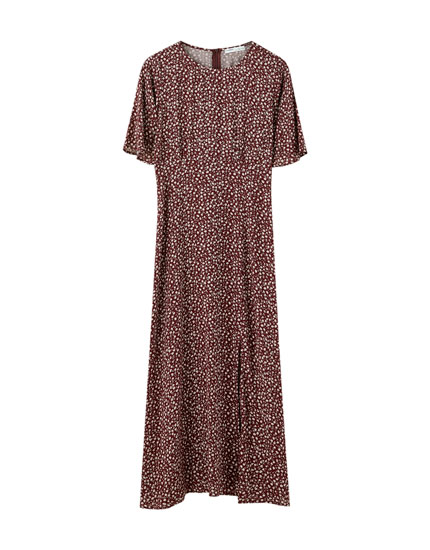 Printed midi dress with flared sleeves