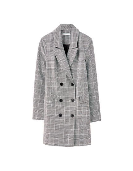 Long checked blazer