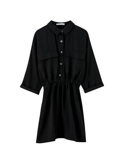 Shirred utility mini dress