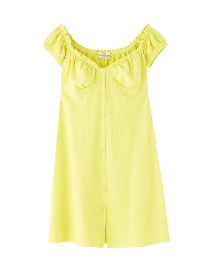 Yellow off-the-shoulder mini dress