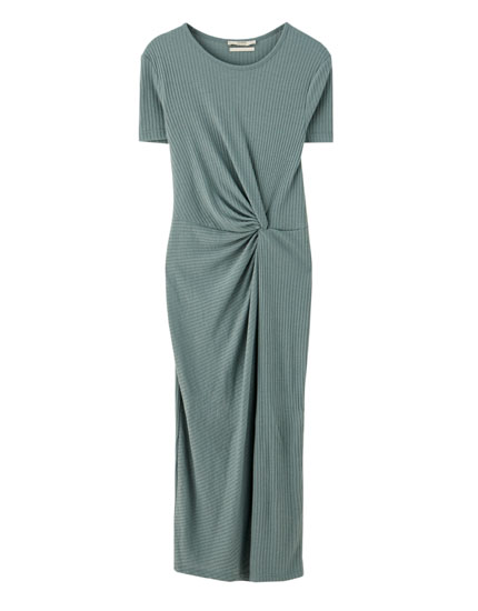 Midi dress knotted at the waist
