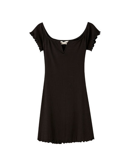 Boatneck mini dress with V detail
