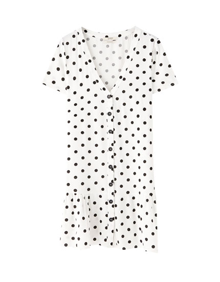 Polka dot baby-doll mini dress