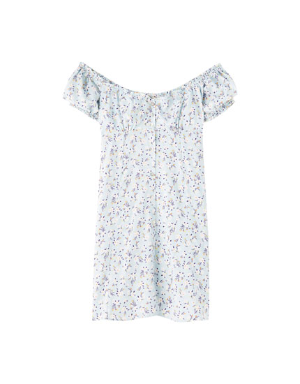 Vestit mini estampat floral escot paraula d'honor