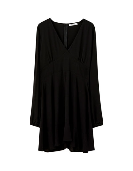 Short black ruffled dress