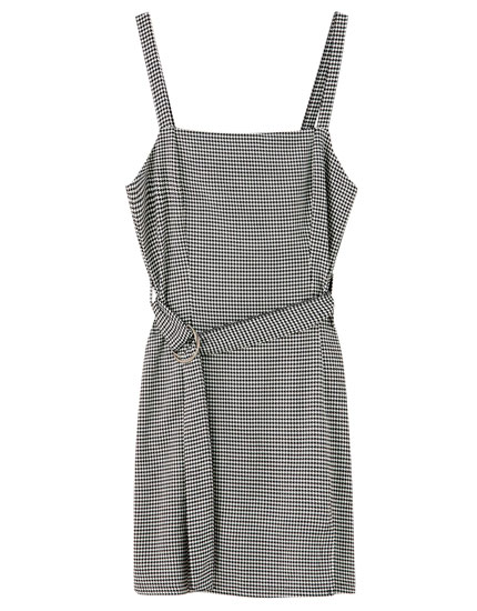 Dress with straight-cut neckline and belt