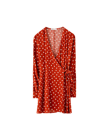 Polka dot wrap mini dress