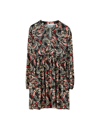 Paisley print babydoll dress