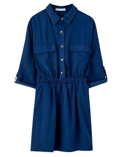 Short utility dress with pockets