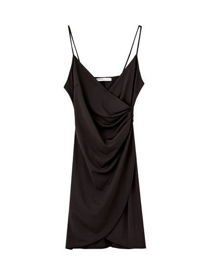 Black wrap mini dress with buttons