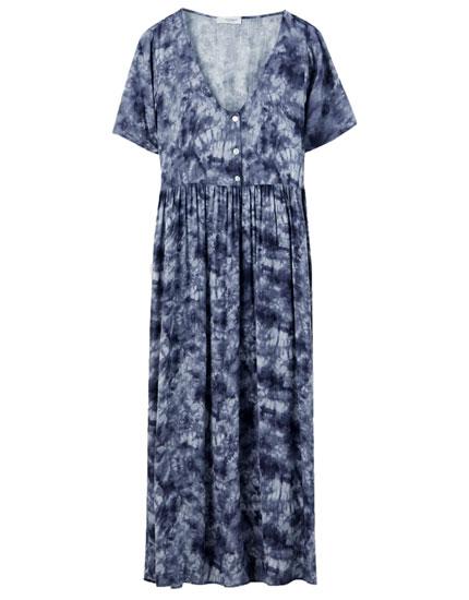 Buttoned tie-dye midi dress