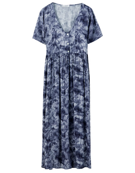 Buttoned tie-dye midi dress